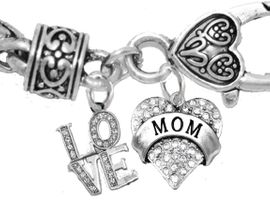 "<BR>                              MOM, GENUINE CRYSTAL ""LOVE "","" MY MOM, MY JOY, MY SUNSHINE, MY HEART"",<BR>             CHARMs ON A ANTIQUE WHEAT CHAIN BRACELET, HYPOALLERGENIC, SAFE, <br>                                 NICKEL, CADIUMUN, LEAD FREE,  FROM $7.38 TO $10.38 <Br>                                                                        W1273-1215B1"