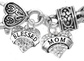 """<BR>                              MOM, """" GENUINE SMOKED CRYTAL BLESSED HEART"""" AND CRYSTAL MOM HEART"""",<BR>             CHARM ON A ANTIQUE WHEAT CHAIN BRACELET, HYPOALLERGENIC, SAFE, <br>                                 NICKEL, CADIUMUN, LEAD FREE,  FROM $7.38 TO $10.38 <Br>                                                                        W1211-1215B1  �2016"""