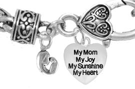 """MOM, """"MOTHER AND HER CHILD"""","""" MY MOM, MY JOY, MY SUNSHINE, MY HEART"""",<br>             CHARM ON A ANTIQUE WHEAT CHAIN BRACELET, HYPOALLERGENIC, SAFE, <br>                                 NICKEL, CADIUMUN, LEAD FREE,  FROM $7.38 TO $10.38 <Br>                                                                         W571-1893B1"""