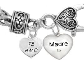 """MOM, """"TE AMO (I LOVE YOU)"""","""" MADRE (MOTHER)"""",<br>             CHARM ON A ANTIQUE WHEAT CHAIN BRACELET, HYPOALLERGENIC, SAFE, <br>                                 NICKEL, CADIUMUN, LEAD FREE,  FROM $7.38 TO $10.38 <Br>                                                                         463-1891B1"""