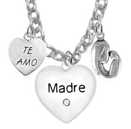 """<BR>                                 MOM, """"TE AMO"""", """" MADRE"""", """"MOTHER AND HER CHILD""""<br>             CHARMS ON A 18 INCH CABLE CHAIN NECKLACE, HYPOALLERGENIC, SAFE, <br>                                 NICKEL, CADIUMUN, LEAD FREE,  FROM $7.38 TO $10.38 <Br>                                                                         W463-1891-571N1"""