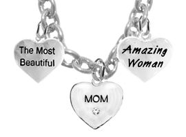 <BR>         Mom, The Most Beautiful, Crystal Mom Heart,<BR>Amazing Woman, Adjustable Necklace, Hypoallergenic,<BR>                 Safe-Nickel, Lead, Free $7.38 To  $10.38<BR>                                       W276-1860-265N1