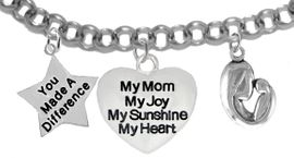 """<BR>                              MOM, """"YOU MADE A DIFFERENCE"""",""""MY MOM, MY JOY, MY SUNSHINE,<BR>                                        MY HEART"""", """"MOTHER AND CHILD"""", CHARMS ON A ANTIQUE<BR>                                                   WHEAT CHAIN BRACELET, HYPOALLERGENIC, SAFE, <br>                                               NICKEL, CADIUMUN, LEAD FREE,  FROM $7.38 TO $10.38 <Br>                                                                                     W461-1893-571B2   �2016"""