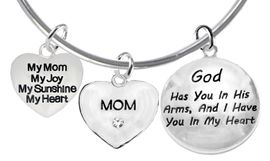 My Mom, My Joy, My Sunshine, My Heart, Crystal Mom, <BR>    God Has You In His Arms,And I Have You In My Heart<br>     Adjustable Bracelet, Hypoallergenic, Safe-Nickel, <BR>                     Lead, Free   From $7.38 To $10.38<BR>                                   W1893-1860-1677B9  �2018