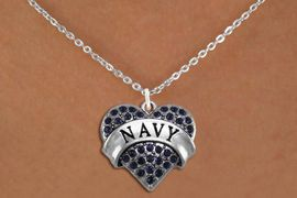 """<BR>      NAVY BLUE NECKLACE  WHOLESALE  <bR>                   EXCLUSIVELY OURS!! <Br>              AN ALLAN ROBIN DESIGN!! <BR>     CLICK HERE TO SEE 1000+ EXCITING <BR>           CHANGES THAT YOU CAN MAKE! <BR>        LEAD, NICKEL & CADMIUM FREE!! <BR> W1479SN - SILVER TONE """"NAVY"""" NAVY <BR>     CRYSTAL HEART CHARM AND NECKLACE <BR>            FROM $5.40 TO $9.85 �2013"""