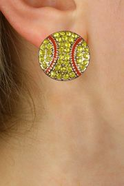 NEW PETITE CRYSTAL 3 DIMENSIONAL AGAINST<BR>             THE EAR, POST SOFTBALL EARRINGS<BR>                 W21373E FROM $6.75 TO $12.50