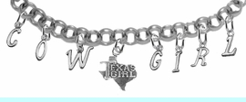 """NEW! ADJUSTABLE COWGIRL """"TEXAS GIRL"""" BRACELET <BR>        NICKEL.LEAD, AND POISONOUS CADMIUM FREE<br>EIGHT CHARMS-W839COW-1007-839GIRLB2 $11.68 EACH<BR> �2020"""