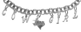 "NEW! ADJUSTABLE COWGIRL ""TEXAS GIRL"" BRACELET <BR>        NICKEL.LEAD, AND POISONOUS CADMIUM FREE<br>EIGHT CHARMS-W839COW-1007-839GIRLB2 $11.68 EACH<BR> �2020"