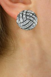 NEW PETITE CRYSTAL 3 DIMENSIONAL AGAINST<BR>         THE EAR, POST VOLLEYBALL EARRINGS<BR>                 W21374E FROM $6.75 TO $12.50