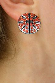 <BR>NEW PETITE CRYSTAL 3 DIMENSIONAL AGAINST<BR>        THE EAR, POST BASKETBALL EARRINGS<BR>               W21378E FROM $6.75 TO $12.50