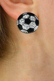 NEW PETITE CRYSTAL 3 DIMENSIONAL AGAINST<BR>             THE EAR, POST SOCCER EARRINGS<BR>               W21375E FROM $6.75 TO $12.50