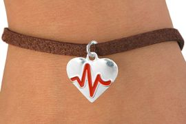 "<BR>                                  NICKEL FREE & ADJUSTABLE NECKLACE ! <BR>                                                   ""THE PERFECT GIFT"",<BR>                         ""Your Love Makes My Heart Beat"","" I Love You"", Or<BR>                In Recognition Of ""Women's Or Children's Heart Disease""<BR>                    "" HEARTBEAT ""ADJUSTABLE BROWN SUEDE BRACELET<BR>                               AN ORIGINAL ALLAN ROBIN CUSTOM DESIGN<br>                                          WHOLESALE CHARM BRACELET <BR>                                        LEAD, CADMIUM & NICKEL FREE!!  <BR>                                     W21563B-ADJUSTABLE BROWN SUEDE<BR>                             BRACELET FROM $4.90 TO $5.85 EACH! &#169;2015"