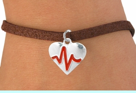 """<BR>                                  NICKEL FREE & ADJUSTABLE NECKLACE ! <BR>                                                   """"THE PERFECT GIFT"""",<BR>                         """"Your Love Makes My Heart Beat"""","""" I Love You"""", Or<BR>                In Recognition Of """"Women's Or Children's Heart Disease""""<BR>                    """" HEARTBEAT """"ADJUSTABLE BROWN SUEDE BRACELET<BR>                               AN ORIGINAL ALLAN ROBIN CUSTOM DESIGN<br>                                          WHOLESALE CHARM BRACELET <BR>                                        LEAD, CADMIUM & NICKEL FREE!!  <BR>                                     W21563B-ADJUSTABLE BROWN SUEDE<BR>                             BRACELET FROM $4.90 TO $5.85 EACH! &#169;2015"""