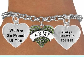 "<BR>                                          GENUINE CRYSTAL  "" ARMY HEART "" <BR>                                 ADJUSTABLE CHARM BRACELET WHOLESALE <bR>                    W21508B - THE NEW WAY TO EXPRESS LOVE, MOTIVATION,<BR>             POSITIVE, AFFIRMATIVE EXPRESSIONS, THAT WILL GO PERFECTLY<br>           WITH ANOTHER POSITIVE AFFIRMATION CHARM IF YOU WANT  ONE,<BR>      MORE CHOICES LOOK BELOW,  CHARM BRACELET FROM $9.73 TO $14.58<BR>                                       CostumeJewelryWholesale.com �2014"