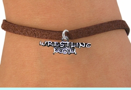<BR>                      WRESTLING MOM ADJUSTABLE BRACELET<BR>                  AN ORIGINAL ALLAN ROBIN CUSTOM DESIGN<br>                                WHOLESALE CHARM BRACELET <BR>                              LEAD, CADMIUM & NICKEL FREE!!  <BR>       W21529B-BROWN SUEDE, WITH SILVER TONE EXTENSION<BR> AND CLASP, FITS ALL SIZES FROM $4.50 TO $8.35 EACH! &#169;2014