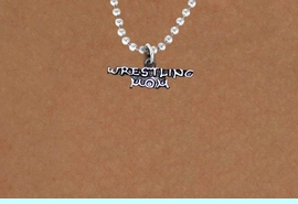 """<BR>       WRESTLING MOM ADJUSTABLE BALL CHAIN NECKLACE<BR>                  AN ORIGINAL ALLAN ROBIN CUSTOM DESIGN<br>                                WHOLESALE CHARM NECKLACE <BR>                              LEAD, CADMIUM & NICKEL FREE!!  <BR>    W21521N-HIGH POLISHED, BRIGHT ANTIQUE SILVER TONE  <BR>          18"""" INCH CHAIN  FROM $5.60 TO $9.85 EACH! &#169;2014"""