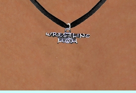 <BR>                      WRESTLING MOM ADJUSTABLE NECKLACE<BR>                  AN ORIGINAL ALLAN ROBIN CUSTOM DESIGN<br>                                WHOLESALE CHARM NECKLACE <BR>                              LEAD, CADMIUM & NICKEL FREE!!  <BR>W21522N-BLACK SUEDE, BRIGHT SILVER TONE EXTENSION CHAIN <BR>                 FITS ALL SIZES FROM $5.60 TO $9.85 EACH! &#169;2014