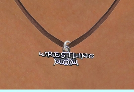 <BR>                      WRESTLING MOM ADJUSTABLE NECKLACE<BR>                  AN ORIGINAL ALLAN ROBIN CUSTOM DESIGN<br>                                WHOLESALE CHARM NECKLACE <BR>                              LEAD, CADMIUM & NICKEL FREE!!  <BR>W21525N-BROWN SUEDE, BRIGHT SILVER TONE EXTENSION CHAIN <BR>                 FITS ALL SIZES FROM $5.60 TO $9.85 EACH! &#169;2014