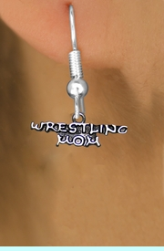 <BR>      WRESTLING MOM FISH HOOK NON ALLERGIC EARRINGS<BR>                  AN ORIGINAL ALLAN ROBIN CUSTOM DESIGN<br>                                WHOLESALE CHARM EARRINGS <BR>                              LEAD, CADMIUM & NICKEL FREE!!  <BR>               W21540E-NON-ALLERGIC, BRIGHT SILVER TONE <BR>      FISH HOOK EARRINGS FROM $4.65 TO $8.45 EACH! &#169;2014