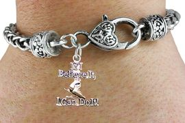 """<BR>   """" If I Believe It, I Can Do It! """" ANTIQUE HEART CHAIN BRACELET<BR>         AN ORIGINAL ALLAN ROBIN CUSTOM ICE SKATING DESIGN<br>                                WHOLESALE CHARM BRACELET <BR>                              LEAD, CADMIUM & NICKEL FREE!!  <BR>    W21541B-HIGH POLISHED, BRIGHT ANTIQUE HEART SILVER TONE  <BR>                                   FROM $4.50 TO $8.35 EACH! &#169;2015"""