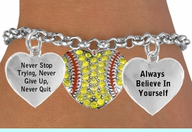 <BR>                      BEAUTIFUL SOFTBALL HEART CHARM BRACELET WHOLESALE <bR>                 W21421B - THE NEW WAY TO EXPRESS LOVE, MOTIVATION,<BR>          POSITIVE, AFFIRMATIVE EXPRESSIONS, THAT WILL GO PERFECTLY<br>        WITH ANOTHER POSITIVE AFFIRMATION CHARM IF YOU WANT  ONE,<BR>   MORE CHOICES LOOK BELOW,  CHARM BRACELET FROM $9.73 TO $14.58<BR>                                    CostumeJewelryWholesale.com �2014