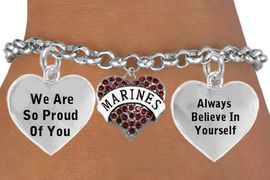 """<BR>                                            """" MARINES, THE FEW, THE PROUD """" <BR>                            ADJUSTABLE HEART CHARM BRACELET WHOLESALE <bR>                    W21507B - THE NEW WAY TO EXPRESS LOVE, MOTIVATION,<BR>             POSITIVE, AFFIRMATIVE EXPRESSIONS, THAT WILL GO PERFECTLY<br>           WITH ANOTHER POSITIVE AFFIRMATION CHARM IF YOU WANT  ONE,<BR>      MORE CHOICES LOOK BELOW,  CHARM BRACELET FROM $9.73 TO $14.58<BR>                                       CostumeJewelryWholesale.com �2014"""