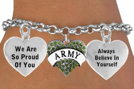 """<BR>                                          GENUINE CRYSTAL  """" ARMY HEART """" <BR>                                 ADJUSTABLE CHARM BRACELET WHOLESALE <bR>                    W21508B - THE NEW WAY TO EXPRESS LOVE, MOTIVATION,<BR>             POSITIVE, AFFIRMATIVE EXPRESSIONS, THAT WILL GO PERFECTLY<br>           WITH ANOTHER POSITIVE AFFIRMATION CHARM IF YOU WANT  ONE,<BR>      MORE CHOICES LOOK BELOW,  CHARM BRACELET FROM $9.73 TO $14.58<BR>                                       CostumeJewelryWholesale.com �2014"""