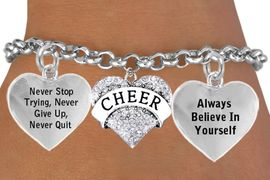 <BR>                          BEAUTIFUL CRYSTAL CHEER HEART CHARM BRACELET <bR>                       W21436B - THE NEW WAY TO EXPRESS LOVE, MOTIVATION,<BR>                POSITIVE, AFFIRMATIVE EXPRESSIONS WITH ANOTHER POSITIVE <BR>      AFFIRMATION CHARM ON A  ADJUSTABLE BRACELET �2014  $11.38 EACH