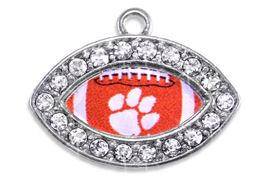 <Br> OFFICIALLY LICENSED COLLEGIATE CHARM!! <Br>       CADMIUM, LEAD & NICKEL FREE!! <Br>   W1457SC - SILVER TONE AND CRYSTAL <BR>    MINI-FOOTBALL SHAPED CHARMS WITH <Br>       THE CLEMSON UNIVERSITY LOGO <BR>           FROM $3.25 TO $4.05 �2013