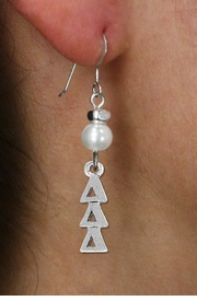 <Br>OFFICIALLY LICENSED SORORITY EARRING!!<Br>                STERLING SILVER EAR WIRE<Br>                     LEAD & NICKEL FREE!!<Br>            W18769E - DELTA DELTA DELTA <BR>                      PEARL BEAD EARRING<BR>                     FROM $11.25 TO $25.00