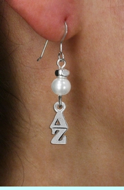 <Br>OFFICIALLY LICENSED SORORITY EARRING!!<Br>                STERLING SILVER EAR WIRE<Br>                     LEAD & NICKEL FREE!!<Br>                W18781E - DELTA ZETA <BR>                      PEARL BEAD EARRING<BR>                   FROM $11.25 TO $25.00
