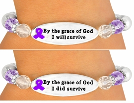 "ONE OF THE MOST IMPORTANT MESSAGE <br>       BRACELETS WE HAVE EVER MADE!<br>                    EXCLUSIVELY OURS!!!<BR>             W10713B - PURPLE ""BY THE<BR>      GRACE OF GOD..."" DOUBLE-SIDED<BR>               AWARENESS RIBBON DISC<Br>               STRETCH BRACELET FROM<Br>                          $4.50 TO $10.00"