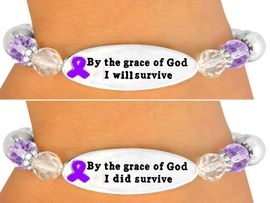 """ONE OF THE MOST IMPORTANT MESSAGE <br>       BRACELETS WE HAVE EVER MADE!<br>                    EXCLUSIVELY OURS!!!<BR>             W10713B - PURPLE """"BY THE<BR>      GRACE OF GOD..."""" DOUBLE-SIDED<BR>               AWARENESS RIBBON DISC<Br>               STRETCH BRACELET FROM<Br>                          $4.50 TO $10.00"""