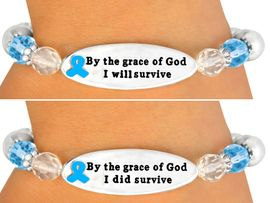"""<br> ONE OF THE MOST IMPORTANT MESSAGE <br>         BRACELETS WE HAVE EVER MADE!<br>                       EXCLUSIVELY OURS!!!<BR>W10714B - TEAL""""BY THE GRACE OF GOD...""""<BR>DOUBLE-SIDED AWARENESS RIBBON DISC<Br>STRETCH BRACELET FROM $4.50 TO $10.00"""