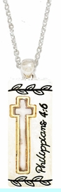 """<BR>          Phillippians 4:6 """"Don't Worry About Anything; Instead Pray About<BR> Everything. Tell God What You Need.."""", Pendent Necklace, Hypoallergenic,<BR>              Safe- No Nickel, Lead, Or Poisonous Cadmium. $ 9.78  To $ 12.3   <BR>                                                               W29438N12"""