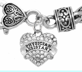<BR>W1771B1 - PHYSICIANS ASSISTANT, GENUINE CRYSTAL HEART<br>        TWO-TONE CABLE BRACELET, SAFE-HYPOALLERGENIC, <BR>        NICKEL, LEAD, CADMIUM FREE,  $10.38 EACH  �2016,