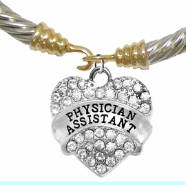 <BR>W1771B24 -  PHYSICIANS ASSISTANT, GENUINE CRYSTAL HEART<br>        TWO-TONE CABLE BRACELET, SAFE-HYPOALLERGENIC, <BR>NICKEL, LEAD, CADMIUM FREE, FROM $ 12.38 EACH �2016,