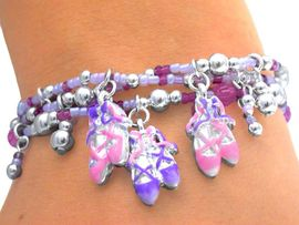 S1800B - SPECTACULAR CHILDREN'S<BR>  LEAD & NICKEL FREE PINK/PURPLE<br>    BALLET BRACELET ASSORTMENT<br>                 FROM $8.68 EACH