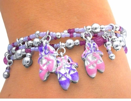 <BR>S1800B - SPECTACULAR CHILDREN'S <BR>   LEAD & NICKEL FREE PINK/PURPLE <br>        BALLET STRETCH BRACELET <br>       AS LOW AS $4.16