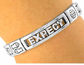 "<Br>              LEAD & NICKEL FREE!!<Br>   S1862B - OUR #1 BEST SELLING<Br>   RELIGIOUS ""EXPECT MIRACLES""<BR>SILVER STRETCH BRACELET  �2001<br>           $7.38 EACH"