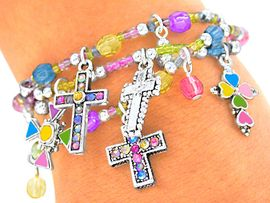 "<br>    S2145BA - LEAD & NICKEL FREE<br>""COLORFUL CROSSES"" CHILDREN'S<br>      4-COLORS, THREE BRACELETS<BR>  STRETCH BRACELET ASSORTMENT<Br>               $8.38 EACH  �2011"