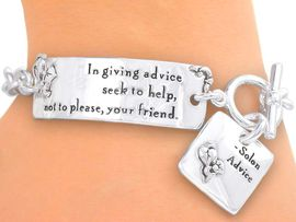 "<br>   S2641B - INSPIRATIONAL ""IN GIVING<Br>      ADVICE..."" SILVER TONE TOGGLE &<br>CHARM BRACELET FROM $3.94 TO $8.75"