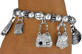 "<BR> S440B - ""WELL DRESSED WOMAN""<BR>MULTI BAG &SHOE CHARM STRETCH<Br>   BRACELET FROM $4.50 TO $10.00"