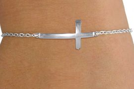 <br>                 SIDE CROSS BRACELET<bR>                   LEAD & NICKEL FREE!! <BR>        W20304B - BEAUTIFUL SILVER TONE <BR>  SIDEWAYS CROSS ON CHAIN LINK BRACELET <BR>              FROM $2.25 TO $5.00 �2013