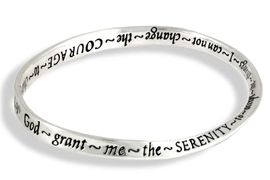 """<br>SMALL TO MEDIUM  SIZE, 2 3/4"""" OPENING <BR>               LEAD AND NICKEL FREE!<BR>W11622B - """"SERENITY PRAYER"""" CURVED<br>    BANGLE BRACELET AS LOW AS $4.50<BR>                                 �2007"""