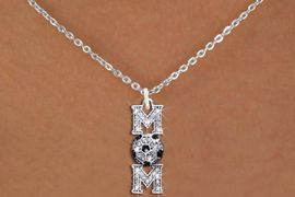 """<BR>     SOCCER MOM NECKLACE WHOLESALE <bR>                    EXCLUSIVELY OURS!! <Br>               AN ALLAN ROBIN DESIGN!! <BR>      CLICK HERE TO SEE 1000+ EXCITING <BR>            CHANGES THAT YOU CAN MAKE! <BR>         LEAD, NICKEL & CADMIUM FREE!! <BR>    W1474SN - SILVER TONE SOCCER """"MOM"""" <BR>      CLEAR CRYSTAL CHARM AND NECKLACE <BR>             FROM $5.40 TO $9.85 �2013"""