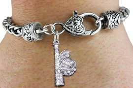 <bR>SOFTBALL BASEBALL CHARM BRACELET <BR>             EXCLUSIVELY OURS!! <BR>        AN ALLAN ROBIN DESIGN!! <BR>  LEAD, CADMIUM, & NICKEL FREE!! <BR> W1470SB - SILVER TONE AND CLEAR <BR>   CRYSTAL BALL AND CAP CHARM ON <BR>   HEART LOBSTER CLASP BRACELET <Br>        FROM $5.63 TO $12.50 �2013