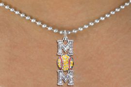 "<BR>     SOFTBALL MOM NECKLACE - ADJUSTABLE <bR>                        <Br>                  <BR>        LEAD, NICKEL, & CADMIUM FREE <BR>  W1471N5 - SILVER TONE <b>SOFTBALL ""MOM"" </b><BR> CLEAR & YELLOW CRYSTAL CHARM NECKLACE <BR>             $9.68 �2013"