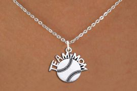 """<br>        SOFTBALL NECKLACE   WHOLESALE <bR>                   EXCLUSIVELY OURS!! <BR>              AN ALLAN ROBIN DESIGN!! <BR>     CLICK HERE TO SEE 1000+ EXCITING <BR>           CHANGES THAT YOU CAN MAKE! <BR>        CADMIUM, LEAD & NICKEL FREE!! <BR>       W1481SN - DETAILED SILVER TONE <BR> """"TEAM MOM"""" SOFTBALL CHARM & NECKLACE <BR>             FROM $4.85 TO $8.30 �2013"""