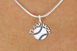 """<br>        SOFTBALL NECKLACE   WHOLESALE <bR>                   EXCLUSIVELY OURS!! <BR>              AN ALLAN ROBIN DESIGN!! <BR>     CLICK HERE TO SEE 1000+ EXCITING <BR>           CHANGES THAT YOU CAN MAKE! <BR>        CADMIUM, LEAD & NICKEL FREE!! <BR>       W1481SN - DETAILED SILVER TONE <BR> """"TEAM MOM"""" SOFTBALL CHARM & NECKLACE <BR>             FROM $4.50 TO $8.35 �2013"""